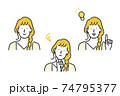 女性の表情パターンセット素材 74795377