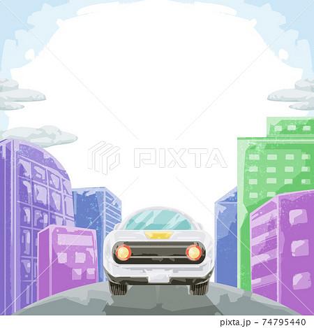 街へ続く道を走る車の風景イラスト 74795440