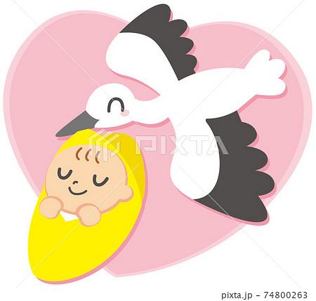 コウノトリと赤ちゃん ハート背景 74800263