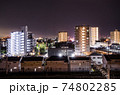 都市の夜景 岐阜県大垣市中心部 74802285