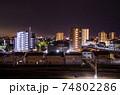 都市の夜景 岐阜県大垣市中心部 74802286