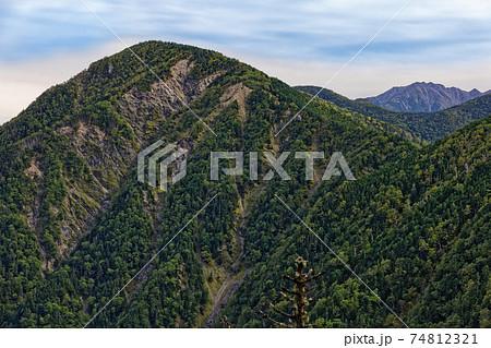 初秋の南アルプス・三伏峠稜線から見る本谷山と農鳥岳 74812321