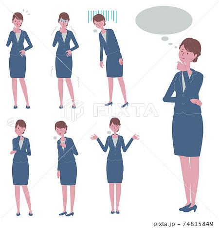考え事をする・ネガティブな反応をする 青いスーツを着た女性のイラストセット 74815849