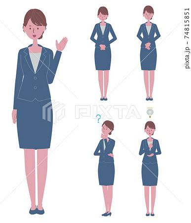 (ご案内・お辞儀・納得をする・疑問に思う)青いスーツを着た女性のイラストセット 74815851
