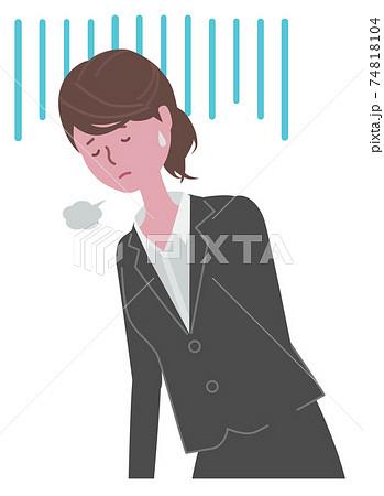 落ち込む・疲れている 黒いスーツを着た女性 74818104