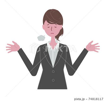 お手上げ 黒いスーツを着た女性 74818117