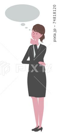 考える 黒いスーツを着た女性 74818120