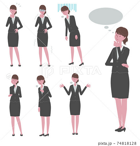 考え事をする・ネガティブな反応をする 黒いスーツを着た女性のイラストセット 74818128