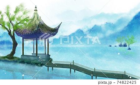 中国建筑古风场景四季夏天 74822425