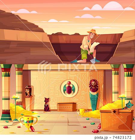 Treasure hunter searching pharaoh treasury vector 74823172