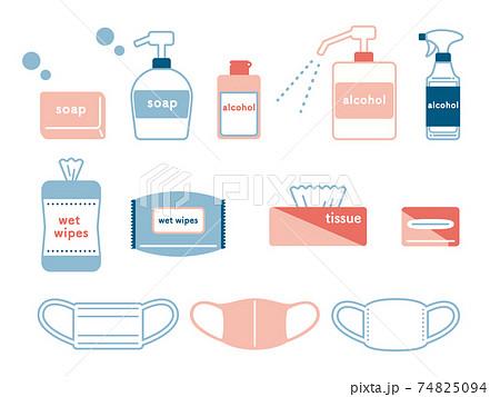 いろんな種類の衛生用品イラスト 74825094