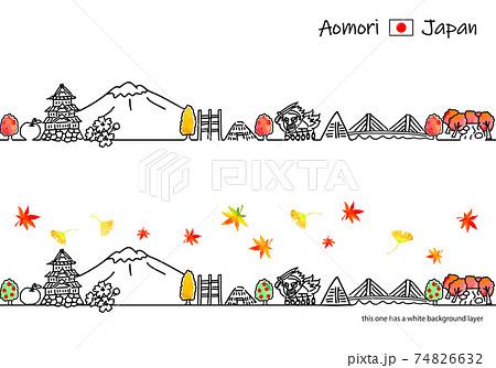 秋の青森の街並みシンプル線画イラストセット 74826632