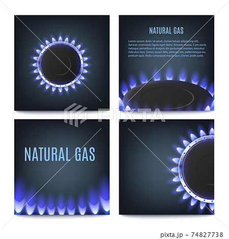 Hot gas burner rings with glowing blue flame of kitchen stove or heat equipment. 74827738