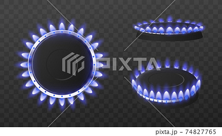 Natural gas hot kitchen stove with blue glowing flames a vector 3d illustration. 74827765
