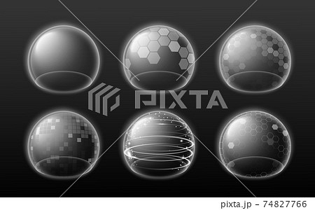 Set of bubble shields, force fields or energy glowing transparent spheres. 74827766