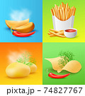 Cards with various fried and cooked potato realistic vector illustration. 74827767