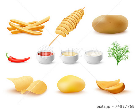 Set of fried potato with sauces, realistic vector illustration isolated. 74827769