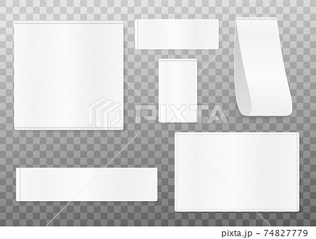 Set of cloth labels, blank white textile tags for fashion clothing. 74827779