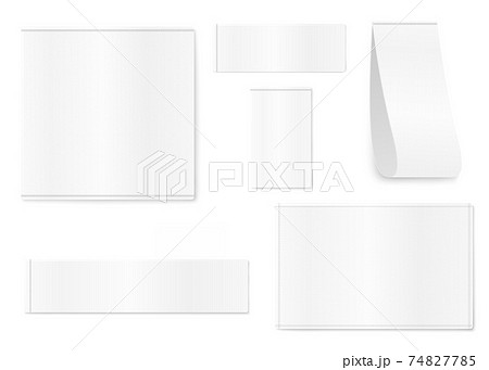 White fabric clothing labels and tags set realistic vector illustration isolated. 74827785