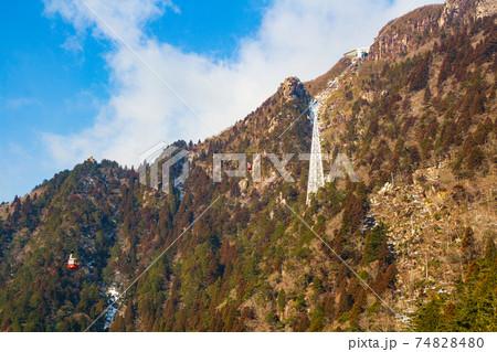 御在所岳登山 中登山道から眺める御在所ロープウェイ 74828480