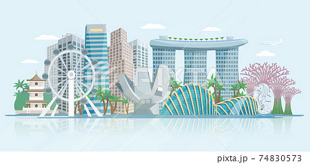 Singapore Skyline Flat Panoramic View Poster 74830573