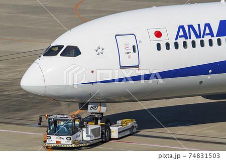 空港の風景 トーイングカーと飛行機 東京都大田区 74831503