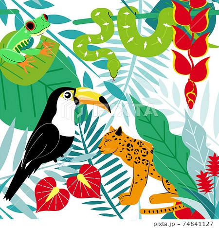 熱帯雨林の動物達のカラフルなシームレスパターン素材 74841127