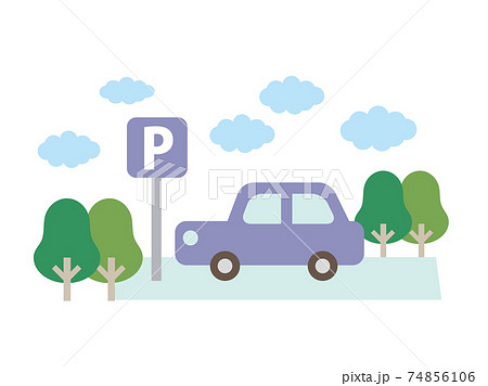 屋外駐車場に車 74856106