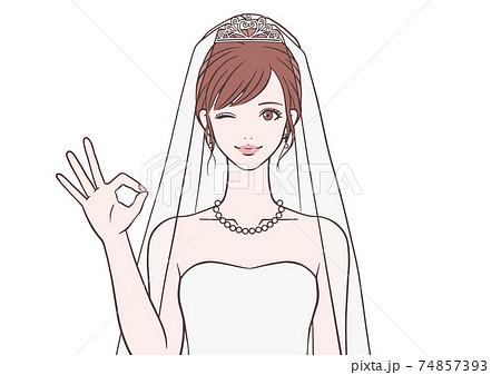 OKマークをする花嫁 74857393
