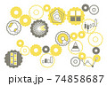 シンプルなグラフのイラストと歯車 グレーと黄色 74858687