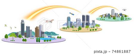ネットワークで繋がった3都市の町並みイラスト バリエーションあり 74861887