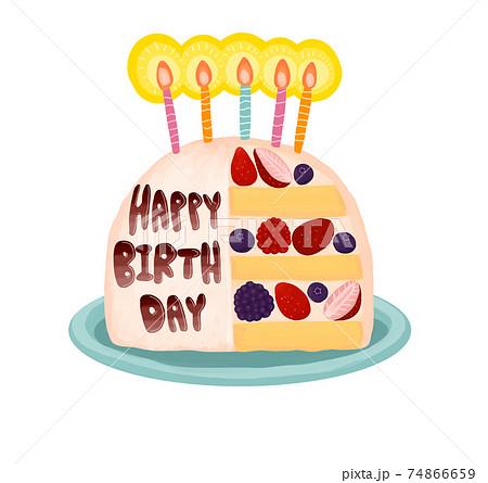 お皿に乗ったロウソク付きの苺の誕生日ケーキ 74866659