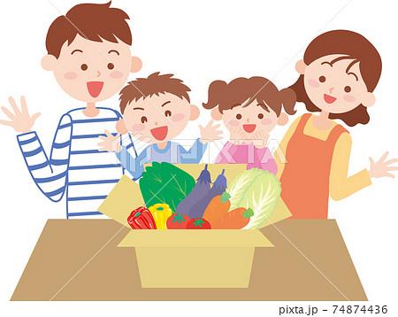 カゴに入った色々な野菜と4人家族 74874436
