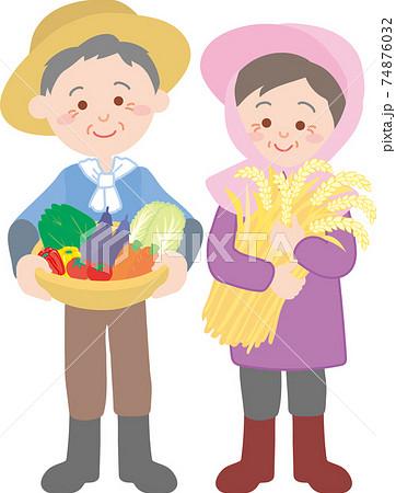 農家の老夫婦 74876032