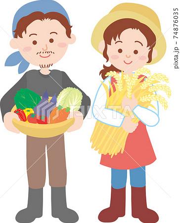 農家の若い夫婦 74876035