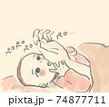 親の手をなめる赤ちゃん 74877711
