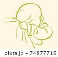 顔を隠しておっぱいを飲む赤ちゃん 74877716