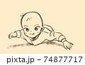 うつぶせで飛行機ポーズをする赤ちゃん 74877717