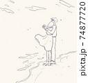 海辺で肩を寄せ合う男女 74877720