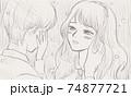 涙を浮かべ、男の子の頬に手を当てる女の子 74877721