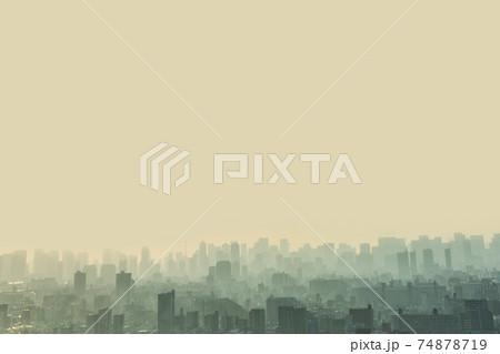 夕暮れの大都会東京のビル群の風景 74878719