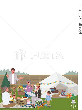 ベランピング 三世代親子のイラスト ピクニック キャンプ 74881089