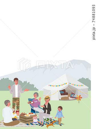 キャンプをする三世代親子のイラスト ピクニック 74881093