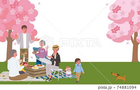 お花見をする三世代親子のイラスト ピクニック キャンプ 74881094