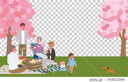 三代父母和孩子在看櫻花野餐營的插圖 74881094