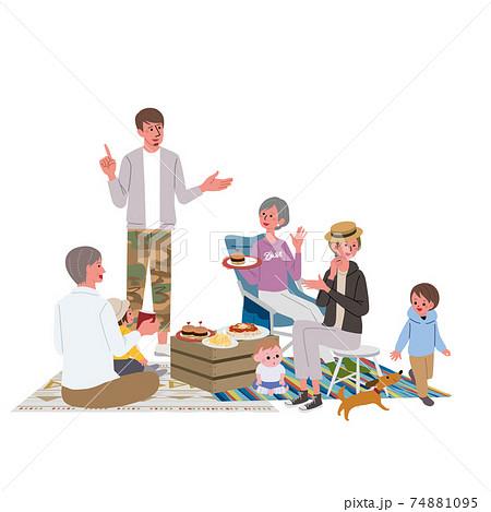 ベランピング 三世代親子のイラスト ピクニック キャンプ 74881095