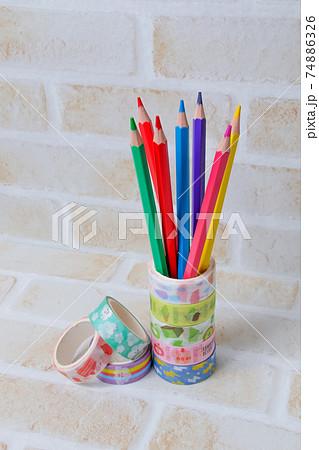 色鉛筆,鉛筆,えんぴつ,文具,テープ、文房具,学校,木製,マスキングテープ,色えんぴつ, 74886326
