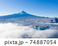 富士山 空撮 朝霧 雲海 河口湖 74887054