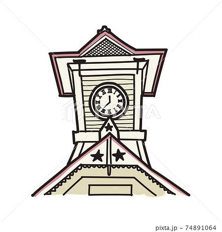 北海道時計台の手描き風イラスト(カラー) 74891064
