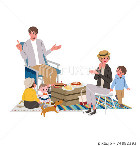キャンプ ベランピング 家族のイラスト ピクニック 74892393